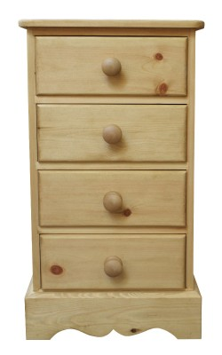Bedside 4 drawer W