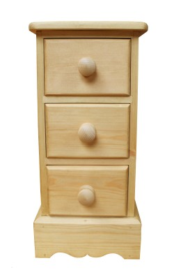 Narrow bedside three drawers